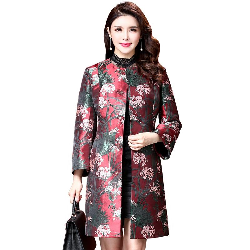 Áo khoác nữ không cổ dáng dài in hoa lá