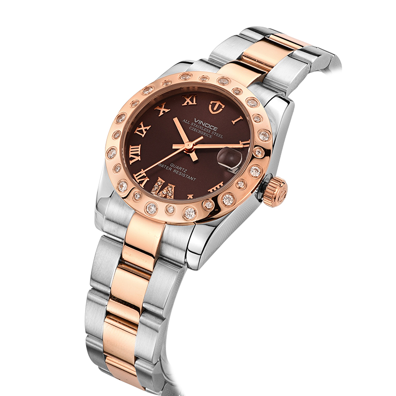 Đồng hồ nữ Office Lady Vinoce viền gắn đá