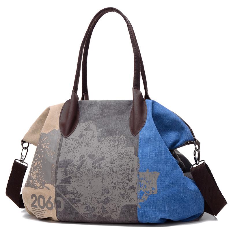 Túi Tote Big size canvas phối màu in họa tiết Nobely