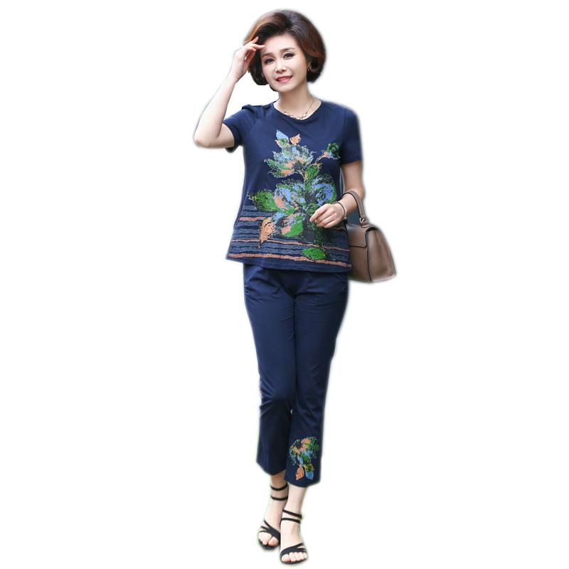 Bộ quần áo lửng in phong lan Dequanna