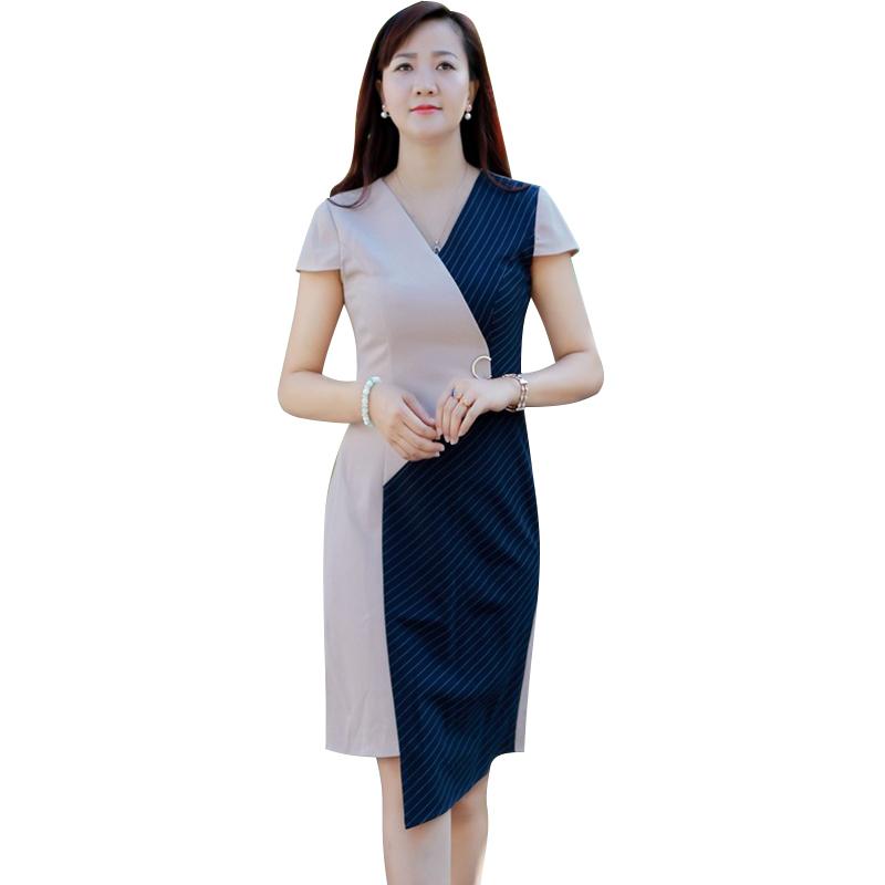 Đầm Wrap phối màu vạt lệch