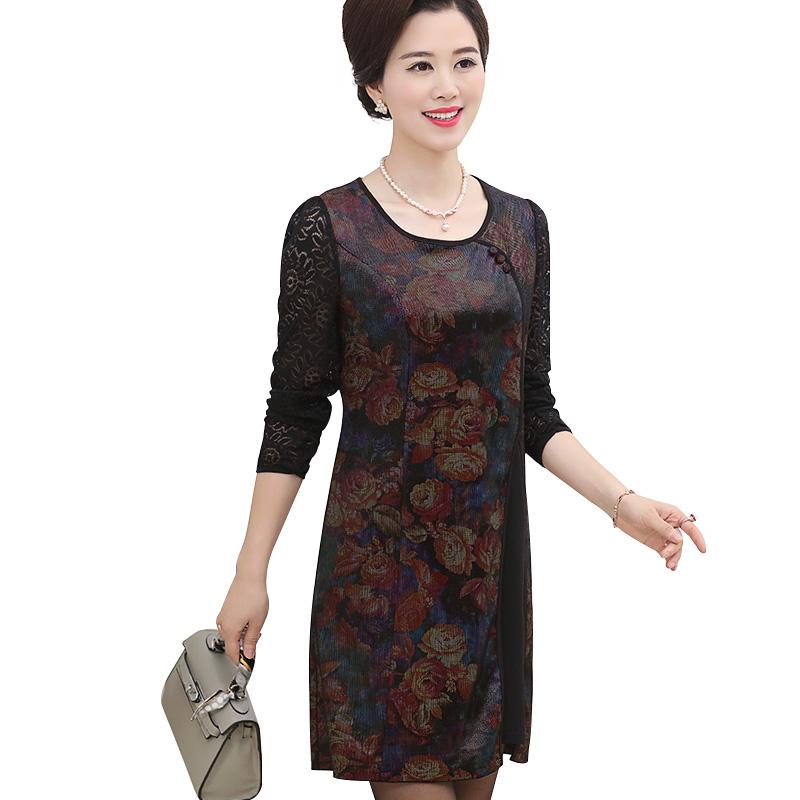 Đầm liền dài tay ren hoa xẻ tà cách điệu SMT