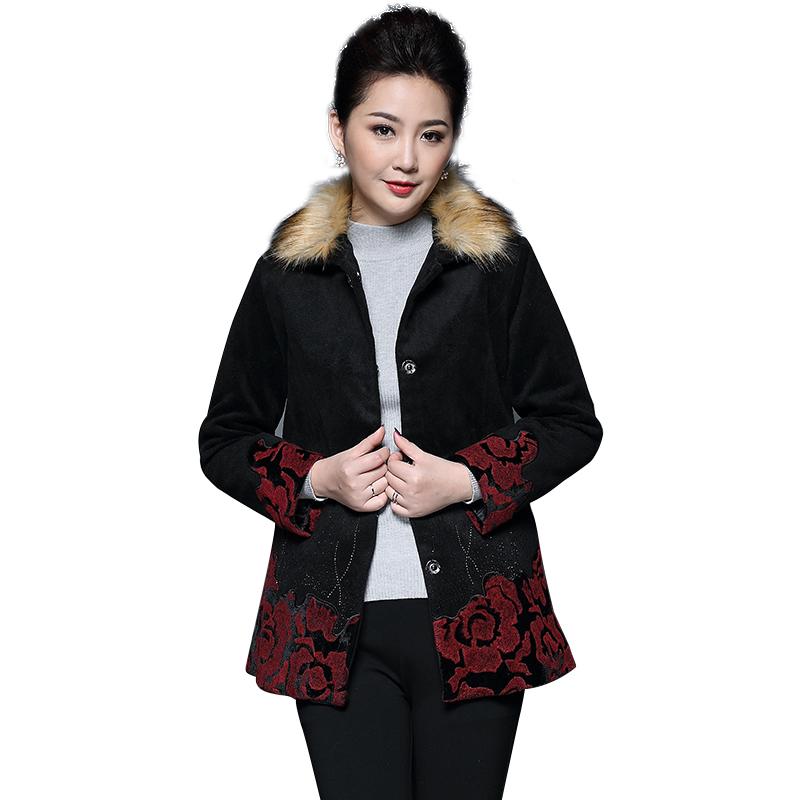 Áo khoác nữ cổ lông gấu thêu hoa QIZ