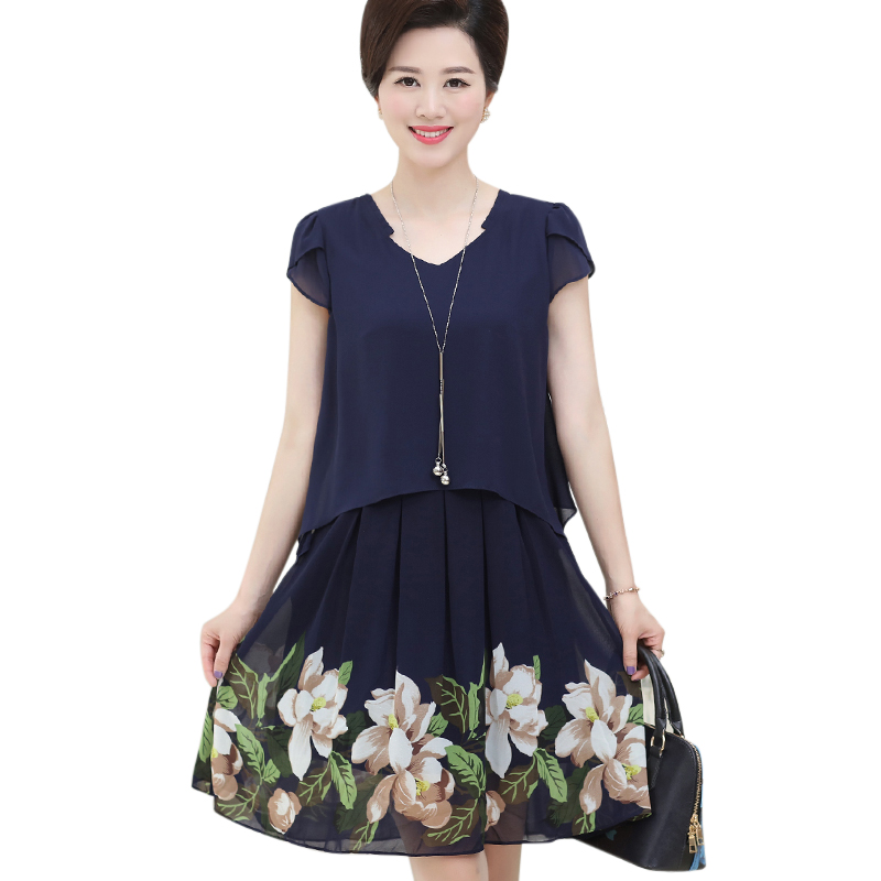Váy voan 2 tầng vạt in hoa SMT