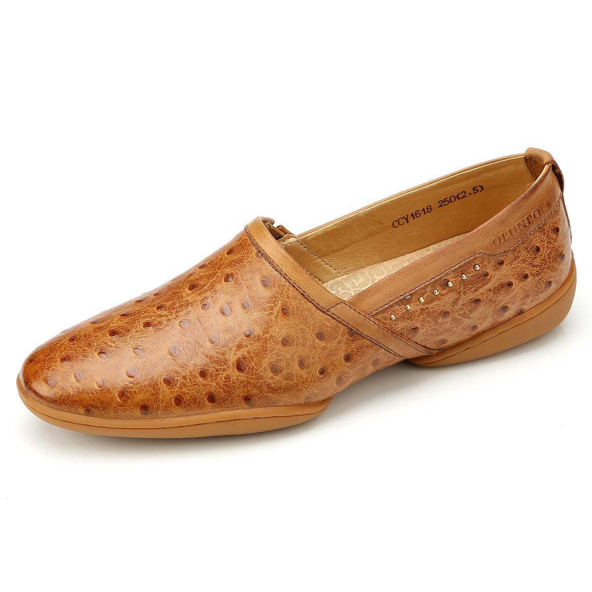 Giày lười da đà điểu Olunpo