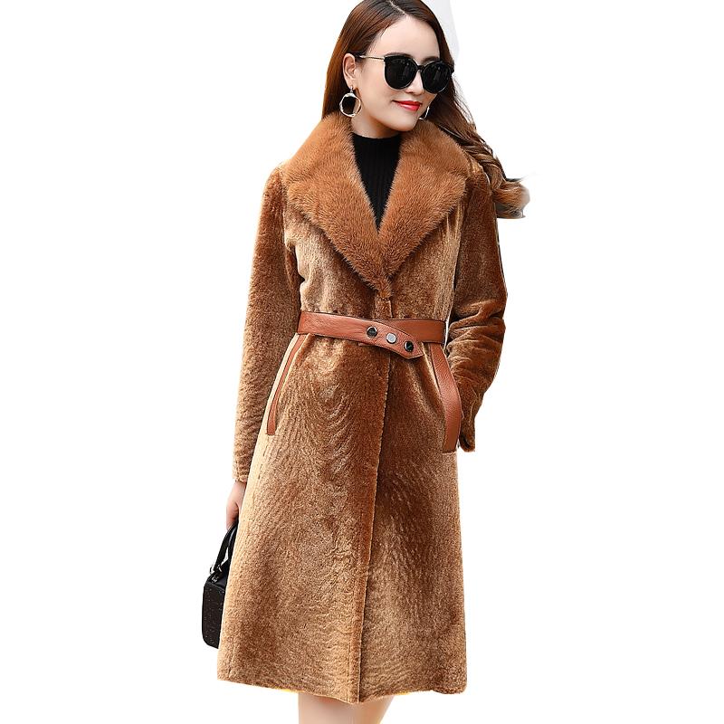 Áo măng tô lông cừu cổ lông chồn đai da