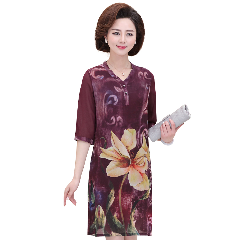 Váy suông tay lỡ cổ chữ V họa tiết hoa lá SMT