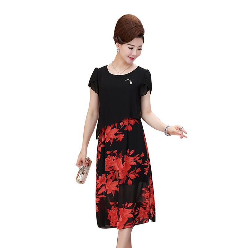 Váy voan 2 lớp in hoa vạt xẻ tà SMT