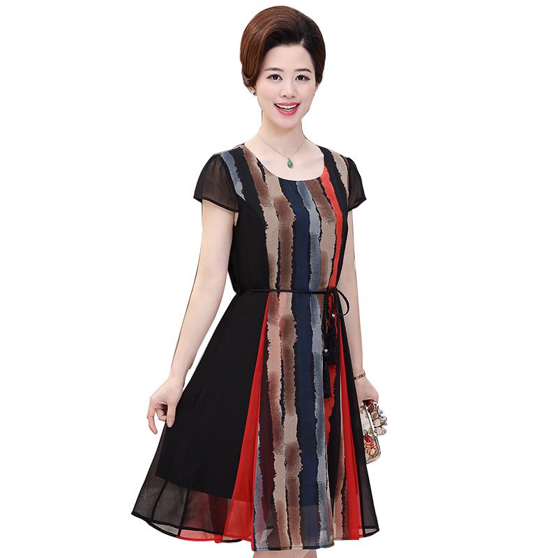Đầm voan xòe phối màu thắt eo SMT