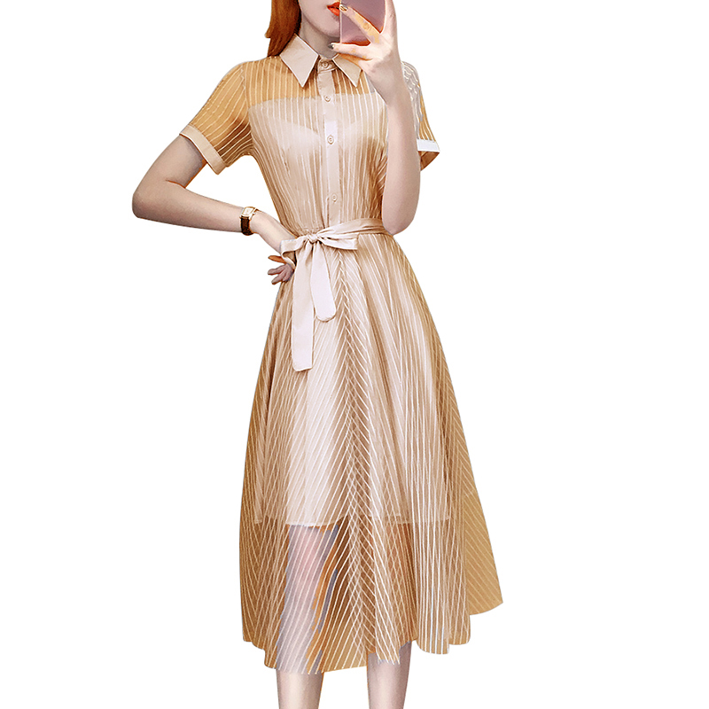 Váy liền 2 lớp thắt nơ cổ bẻ
