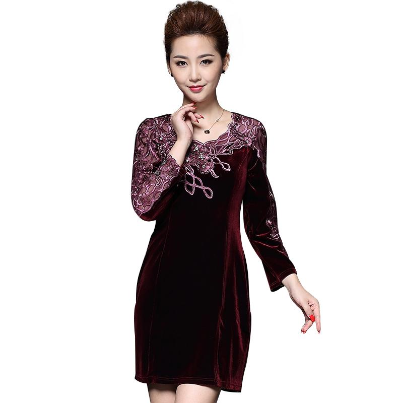 Đầm nhung Hàn Quốc phối ren thêu hoa đính đá QIZ