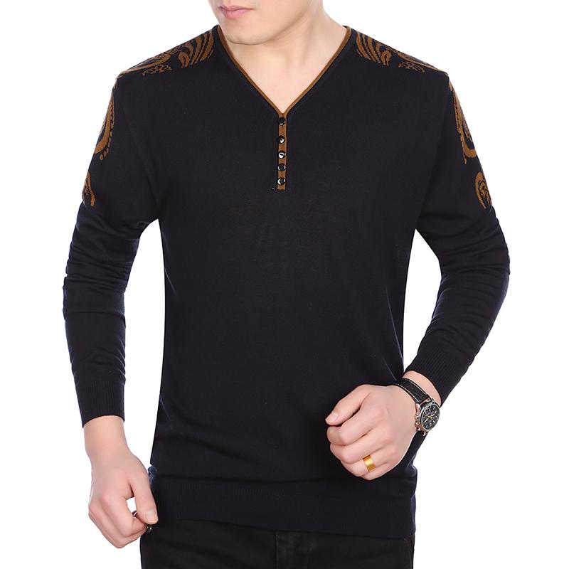 Áo len nam dệt kim dài tay cổ V phối màu KSLPT