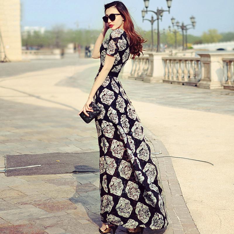 Đầm maxi họa tiết floral châu Âu JM