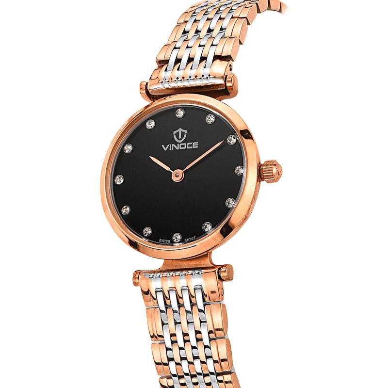 Đồng hồ nữ siêu mỏng Vinoce mốc giờ đá pha lê
