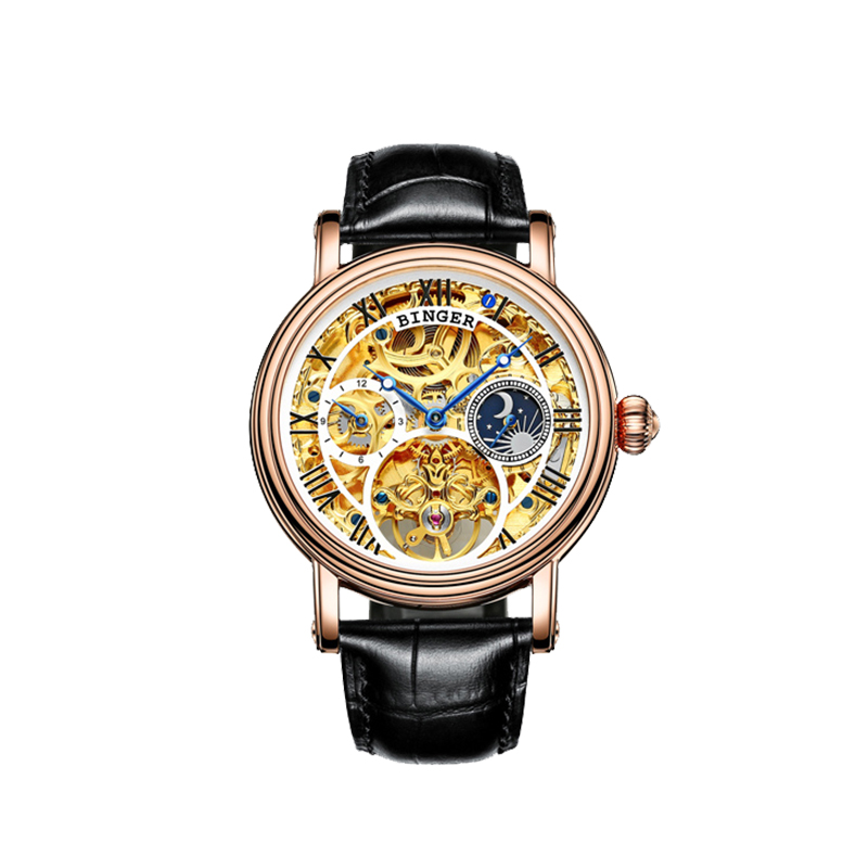 Đồng hồ Automatic Skeleton ngày đêm Binger