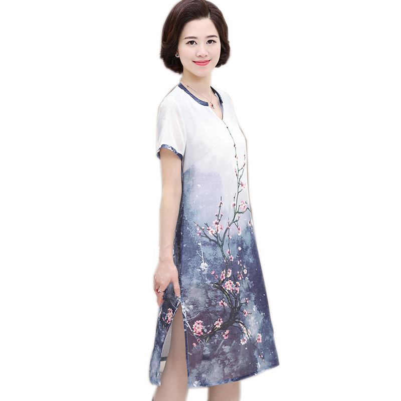 Váy suông 2 lớp vạt xẻ in hoa đào SMT