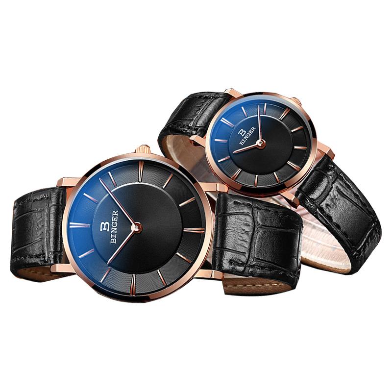 Đồng hồ đôi Binger siêu mỏng style retro