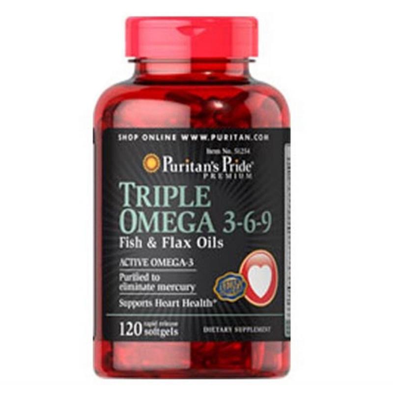 Viên uống tăng cường hệ miễn dịch Puritan's Pride Premium Maximum Strength Triple Omega 3-6-9