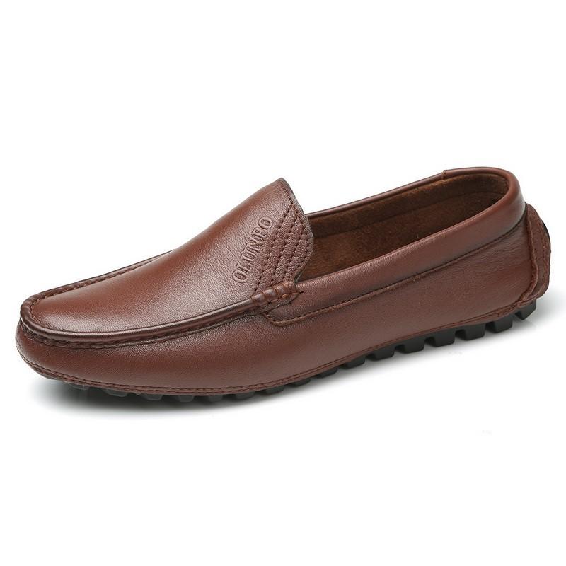 Giày lười Moccasin nam dập logo Olunpo
