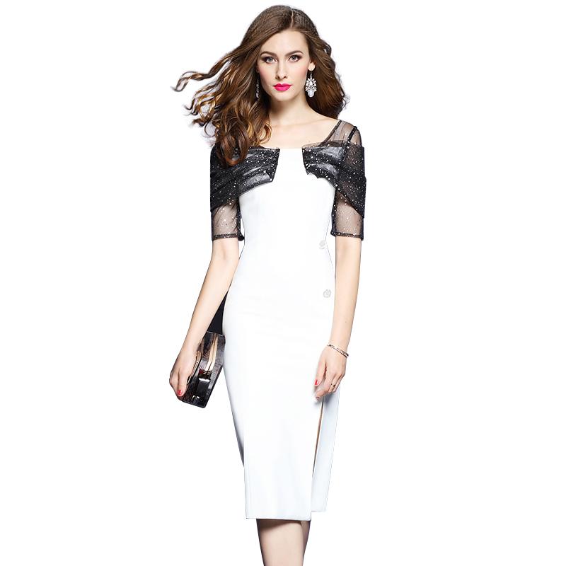 Đầm body xẻ vạt phối tay lưới kim tuyến đính Sequins