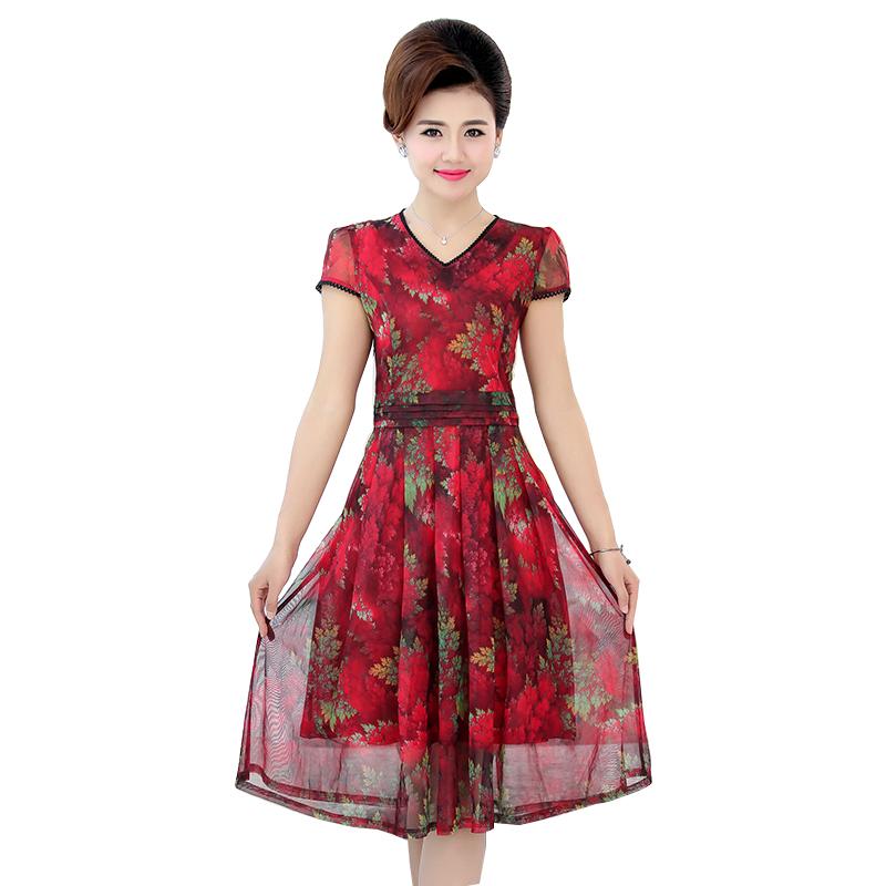 Đầm voan hoa cổ chữ V viền ren SMT