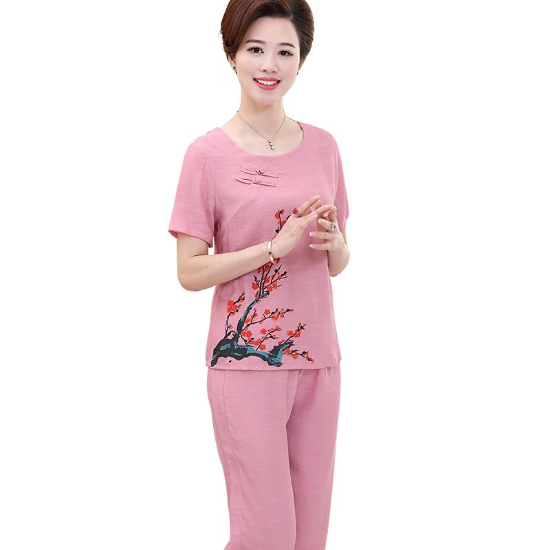 Bộ lửng nữ vải đũi khuy lệch họa tiết hoa phượng SMT