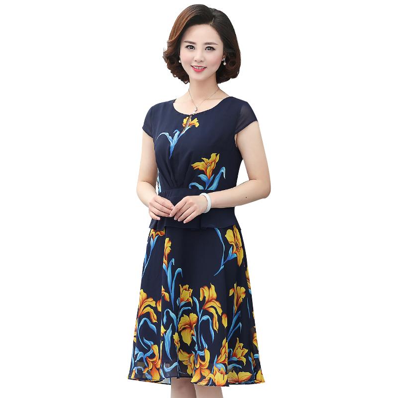 Váy chiffon xòe peplum in hoa Lily SMT