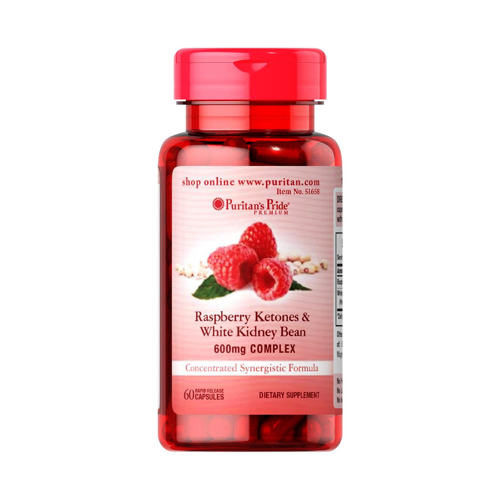 Viên uống hỗ trợ giảm cân Puritan's Pride Raspberry Ketones & White Kidney Bean 600mg Complex 60 viên