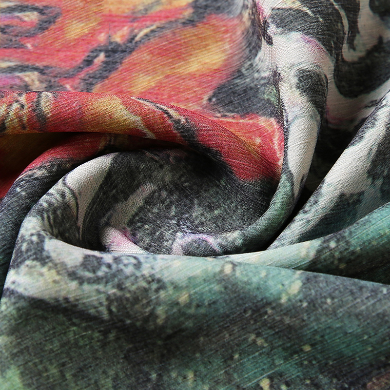 Áo chiffon dáng dài tay lỡ in hoa SMT
