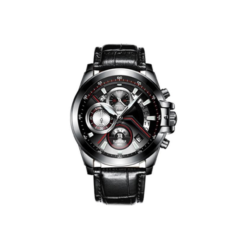 Đồng hồ thể thao nam Chrnonograph kim dạ quang Binger