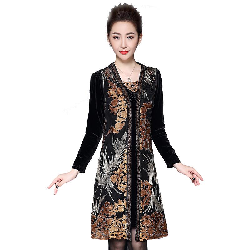 Đầm nhung kèm áo gile ren lưới thêu hoa