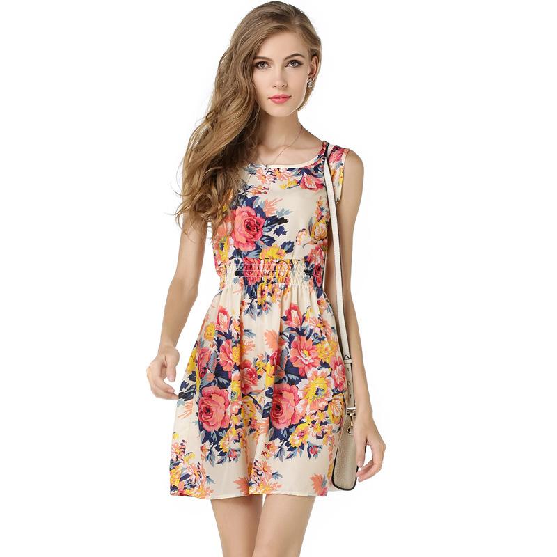 Váy liền in hoa chun eo Liva Girl