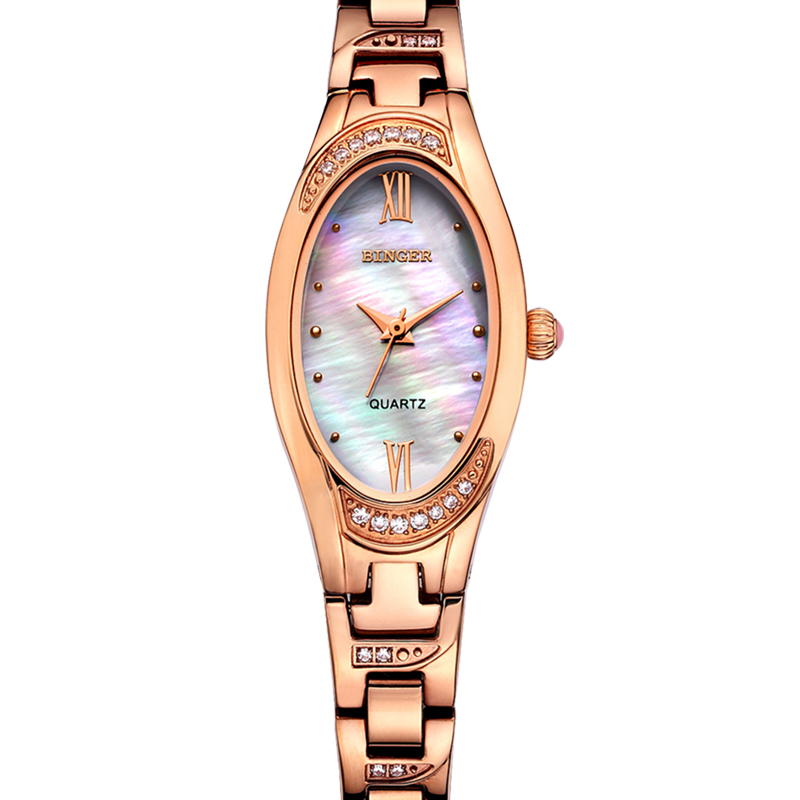 Đồng hồ nữ mặt oval khảm trai nạm đá Binger