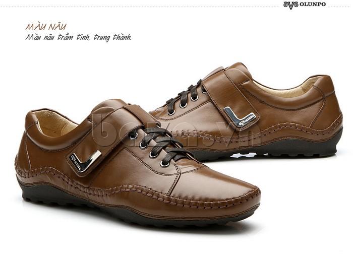 giày nam Olumpo QABA1214 màu nâu trầm tĩnh, trung thành