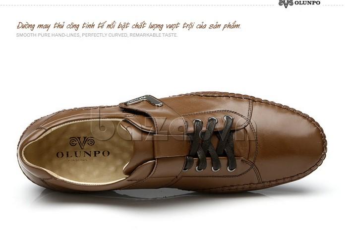 đường may của giày nam Olumpo QABA1214 tinh tế nổi bật chất lượng vượt trội của sản phẩm