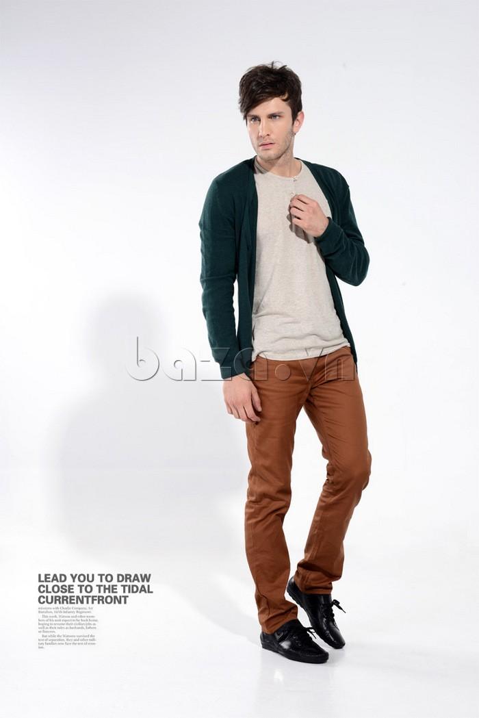 giày nam Olumpo QABA1214  trẻ trung và năng động với quần kaki ôm dáng
