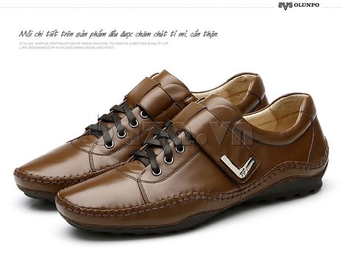 Mỗi chi tiết của giày nam Olumpo QABA1214 đều được chăm chút tỉ mỉ, cẩn thận
