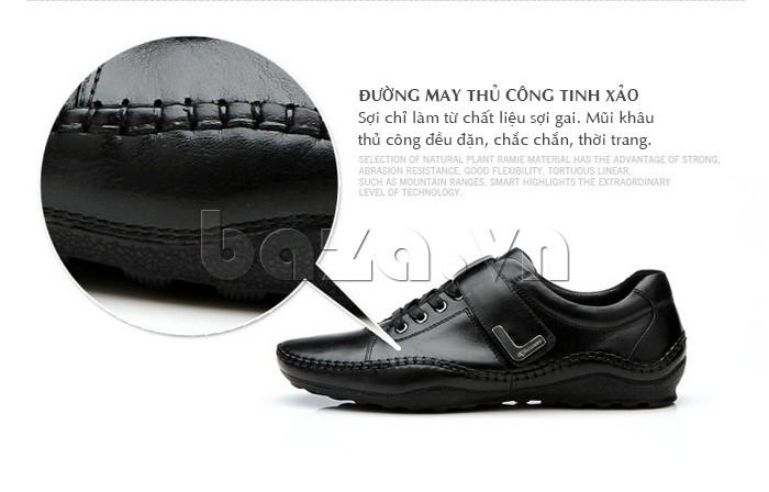 đường may của giày nam Olumpo QABA1214 tinh xảo, chắn chắn