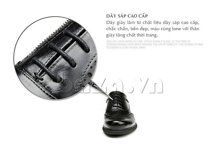 Giầy da nam Olunpo QLXS1308 sử dụng dây sáp cao cấp làm dây giày