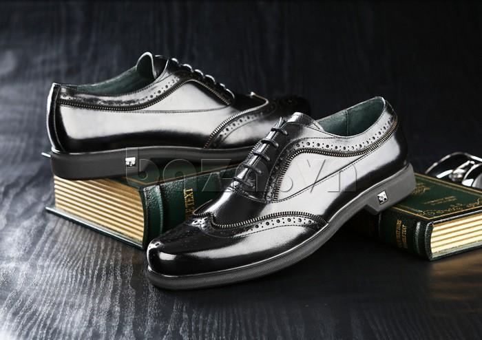 Giầy da nam Olunpo QLXS1308 viền miệng giày được thiết kế đục lỗ tinh xảo
