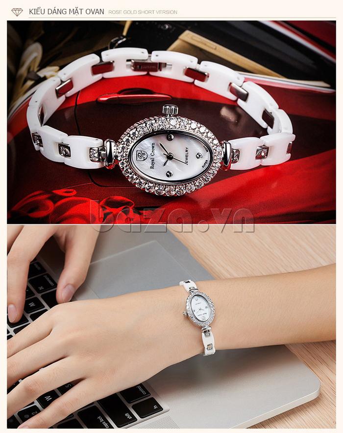 Đồng hồ nữ dây gốm Royal Crown 63806C