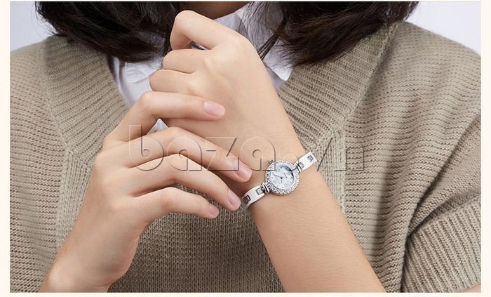 Đồng hồ nữ dây gốm mặt tròn Royal Crown 63806C
