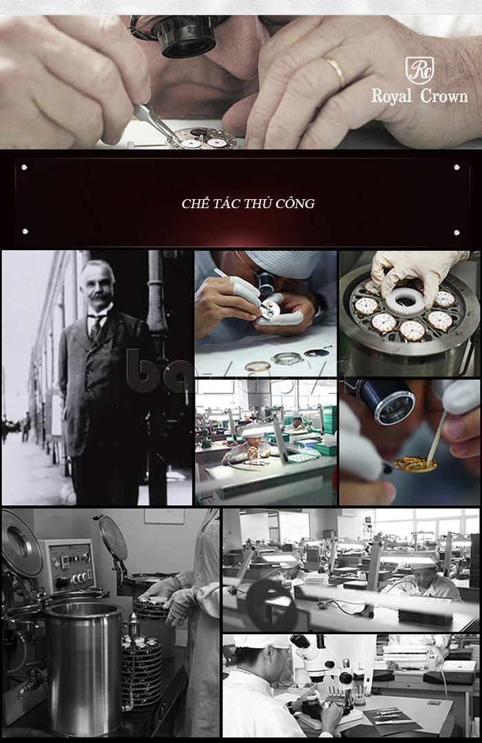 Quy trình sản xuất của Đồng hồ nữ dây đeo gốm sứ Royal Crown 63806C