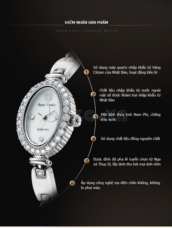 Đồng hồ nữ đeo tay dây gốm Royal Crown 63806C