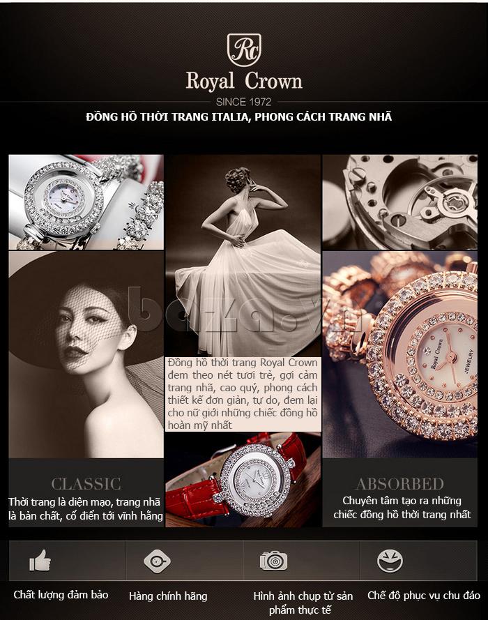 Đồng hồ nữ dây đeo gốm sứ Royal Crown 63806C sang trọng