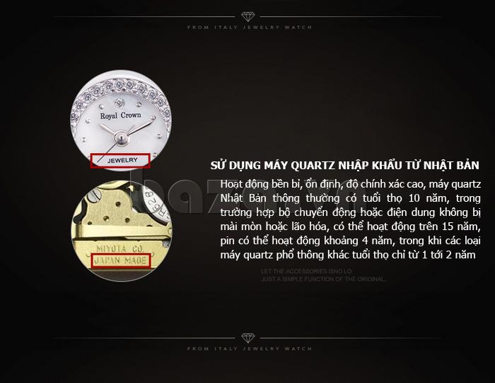 Đồng hồ nữ dây đeo gốm sứ Royal Crown 63806C - máy quartz nhập khẩu