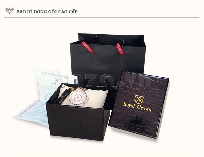Đóng gói của Đồng hồ nữ dây đeo gốm sứ Royal Crown 63806C