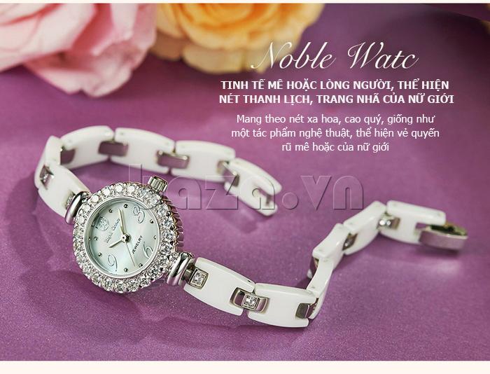 Đồng hồ nữ dây gốm sứ Royal Crown 63806C