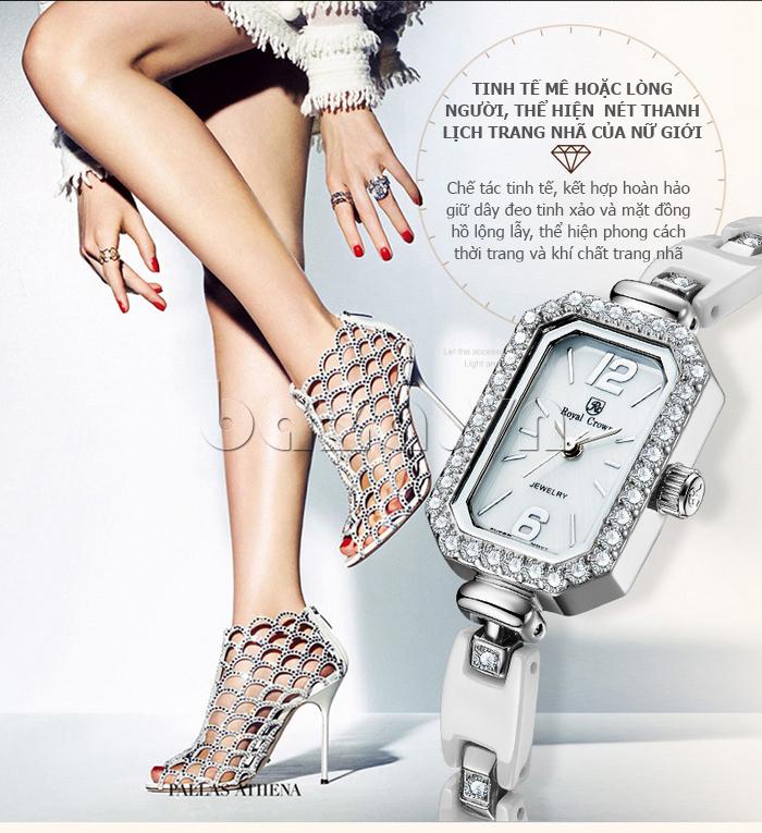 Đồng hồ nữ gắn pha lê Zirconia Royal Crown 63806C