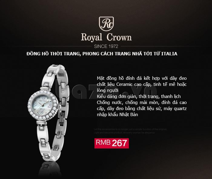 Đồng hồ nữ phong cách Italia Royal Crown 63806C